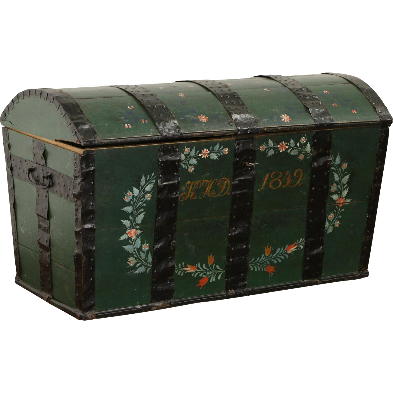 Hand Painted Oak Scandinavian Immigrant Trunk, Dated 1849, Working Lock