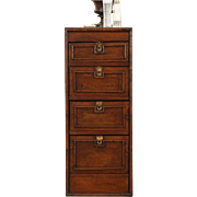 Country Pine 1870 Antique Cabinet or Nightstand, 4 Drawers