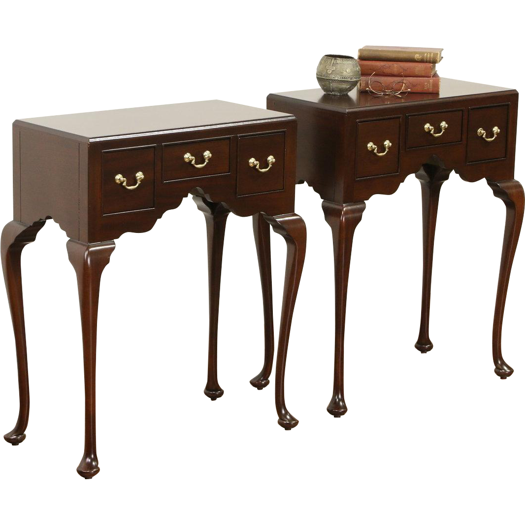 Pair of Vintage Georgian Style Mahogany End Tables or Night Stands, Signed