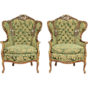 Pair of Carved 1940's Vintage  Music Room Wing Chairs, New Upholstery
