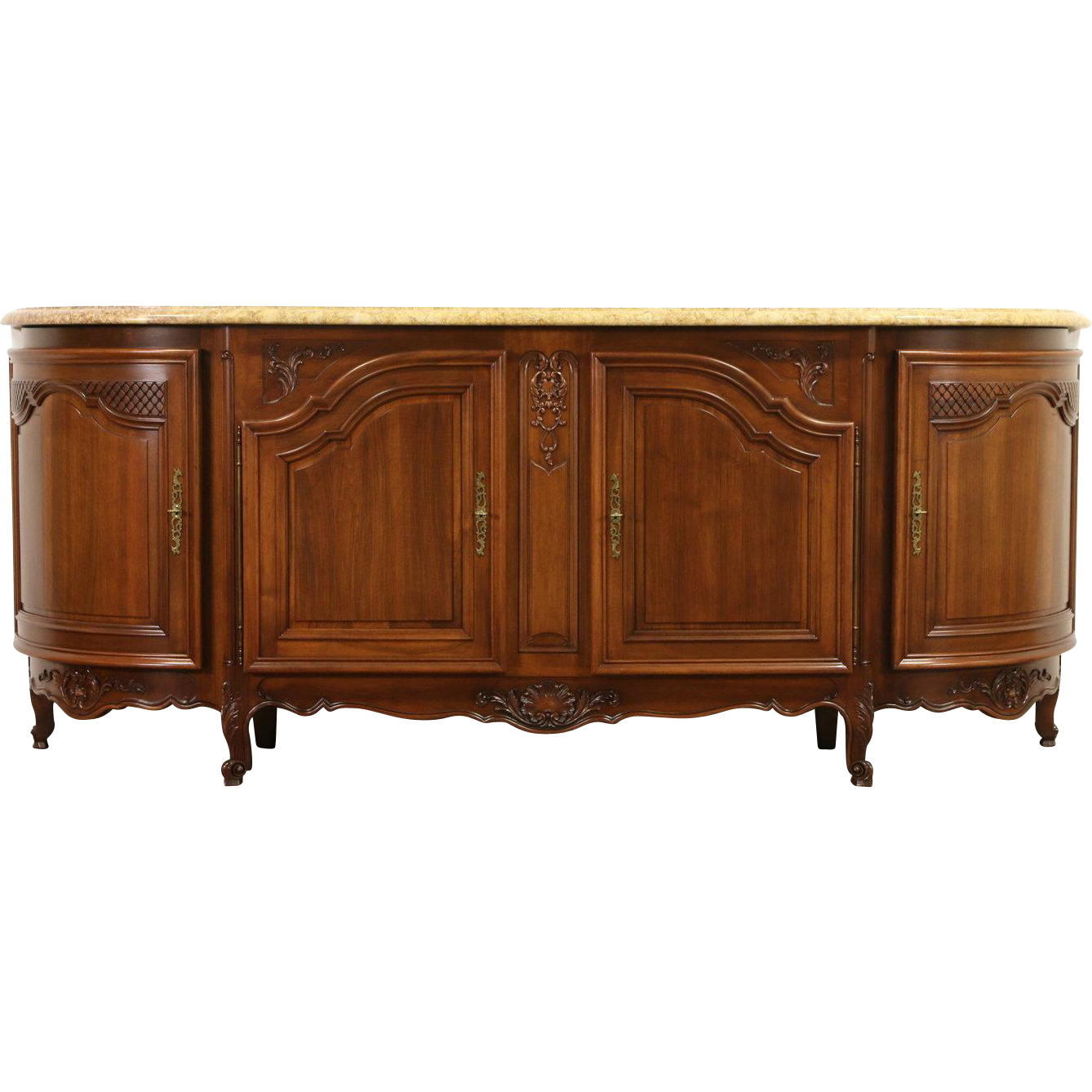 """French Carved 1940's Vintage 8' 7"""" Sideboard, Server or Buffet, Marble Top"""