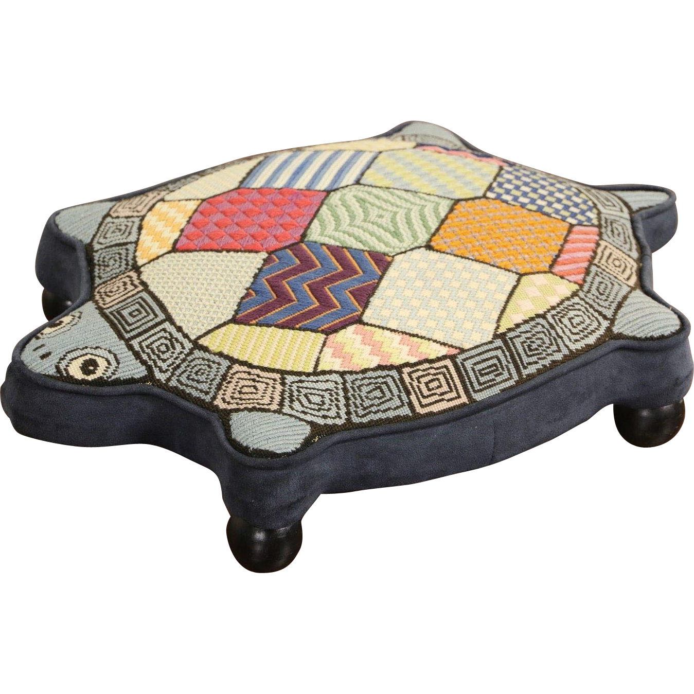 Turtle  Foot Stool, Vintage Hand Stitched Needlepoint & Velvet