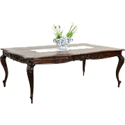 Country French 1860's Antique Carved Oak Dining Table