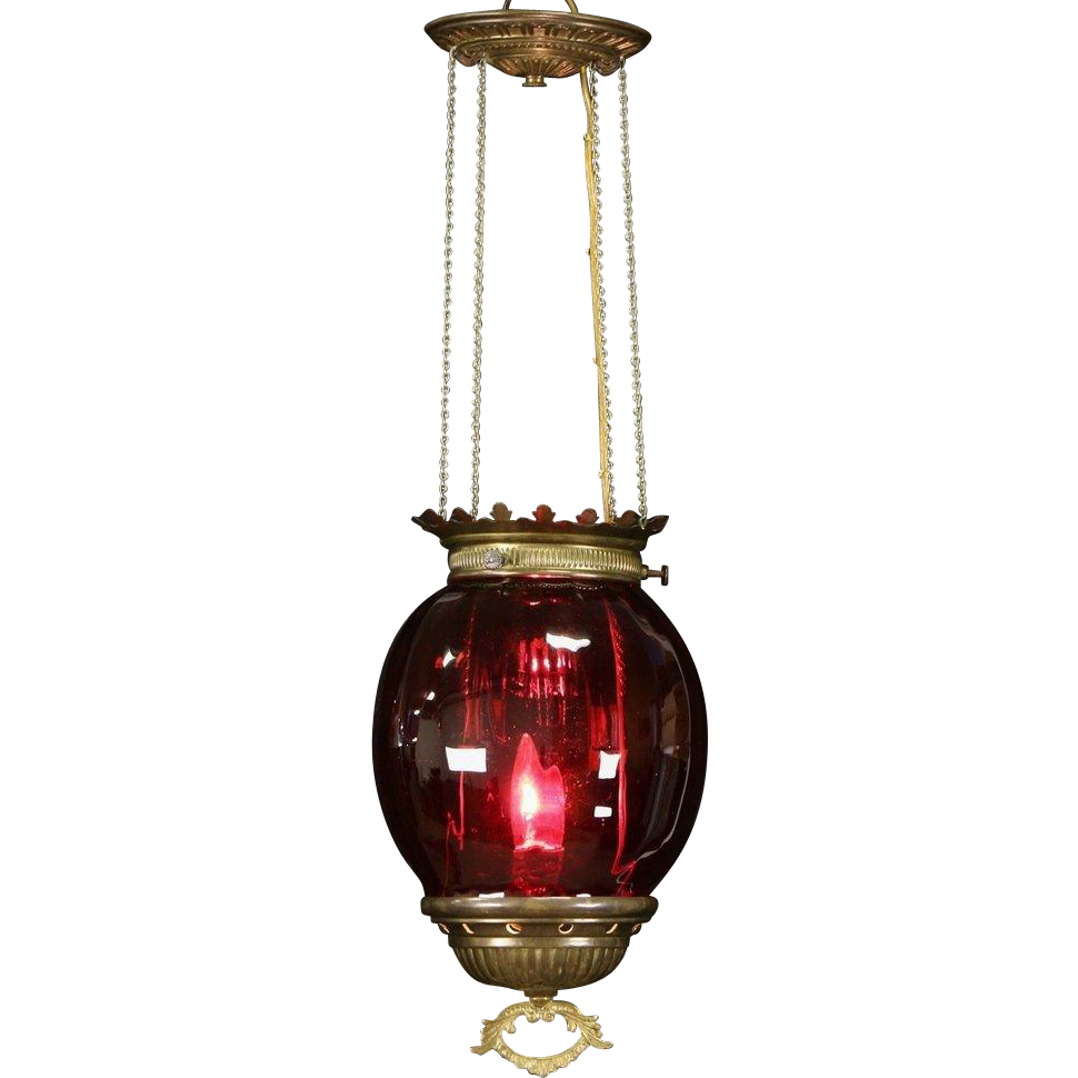 Victorian Blown Ruby Glass 1880 Antique Hall Light Fixture, Electrified