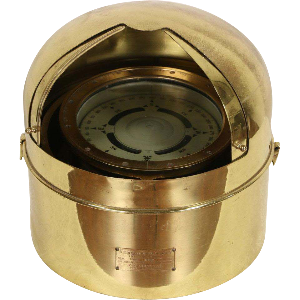 US Navy World War II Nautical Brass Ship Compass, Signed 1943 Lionel NY