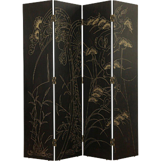 Black Lacquer Hand Painted Vintage 4 Panel Screen
