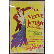 French Merry Widow La Veuve Joyeuse Operetta Poster, C. 1936, Signed