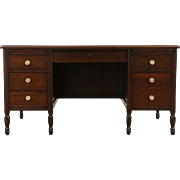 Walnut 1925  Executive or Library Desk, File Drawer
