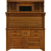 Oak Dentist 1900 Antique Dental Cabinet, Roll Top, Original Hardware