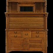 Oak Dentist 1900 Antique Dental Cabinet, Roll Top, Original Hardware