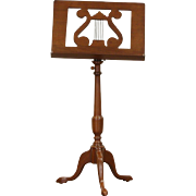 Music Stand, Vintage Mahogany with Lyre, Adjustable