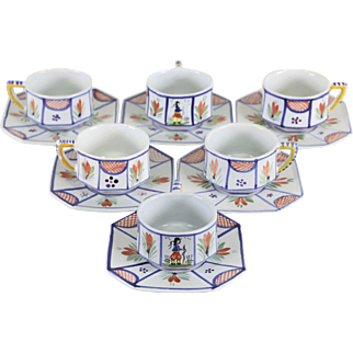 Set of 6 Quimper France Signed Hand Painted Minstral Blue Cups and Saucers