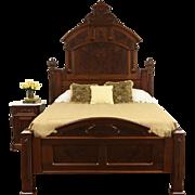 Victorian Renaissance 1870's Antique Queen Size Carved Walnut Bed