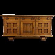 Oak Carved 1915 Antique Dutch Sideboard, Server or TV Console