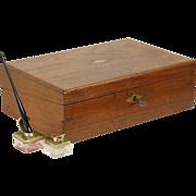 Lap or Travel Desk, Writing Box Walnut 1880 Antique