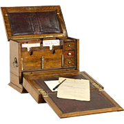 English 1890's Victorian Oak Travel Desk, Drawers & Compartments, Leather Top