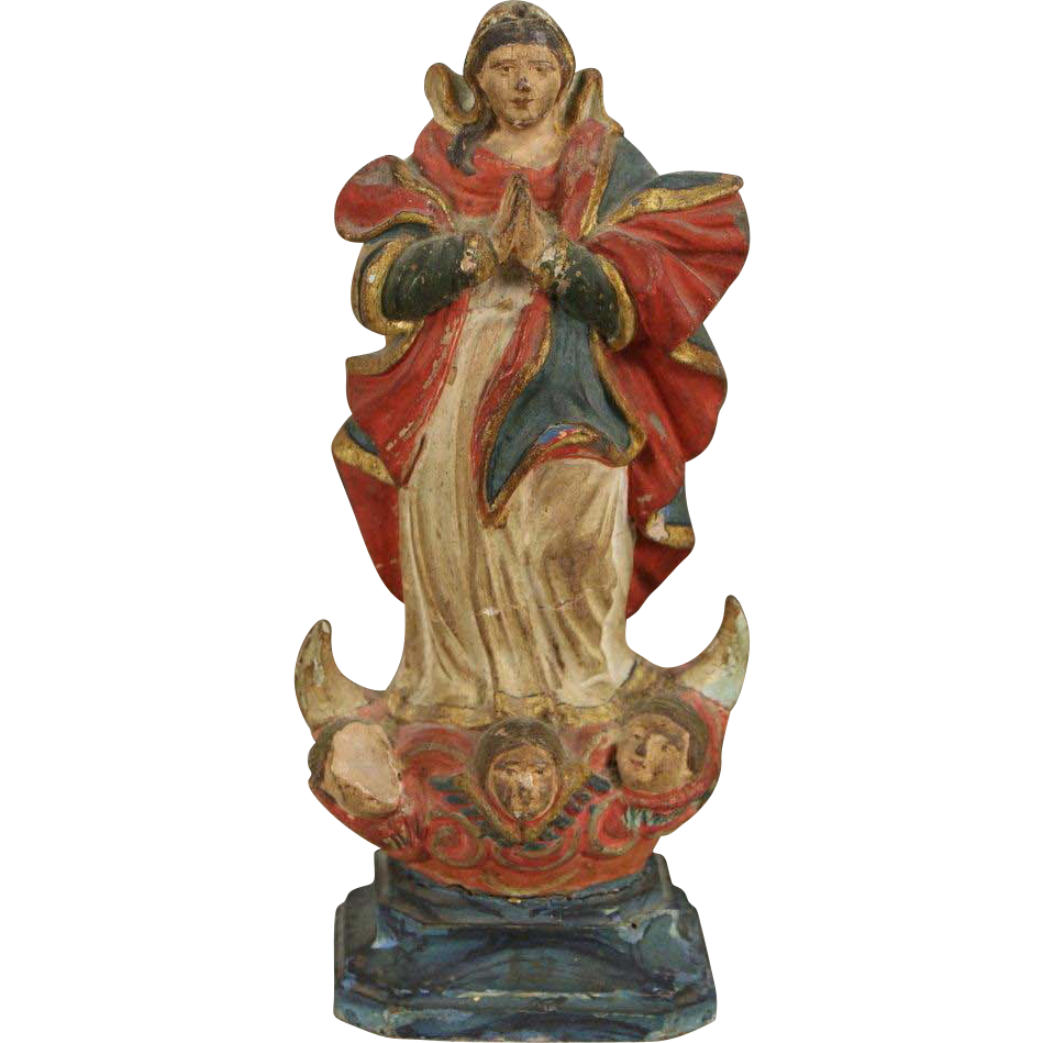 Santo Virgin Mary late 1700's Sculpture, Hand Painted Miniature Statue