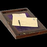 Rosewood English 1880 Antique Lap or Traveling Desk, Secret Compartments