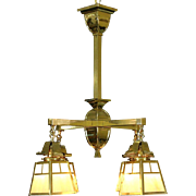 Arts & Crafts 1910 Antique Brass Chandelier, Stained Glass Light Fixture