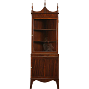 Mahogany Vintage Traditional Corner Cabinet, Glass Door