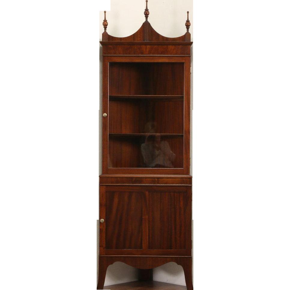 Mahogany Vintage Traditional Corner Cabinet, Glass Door