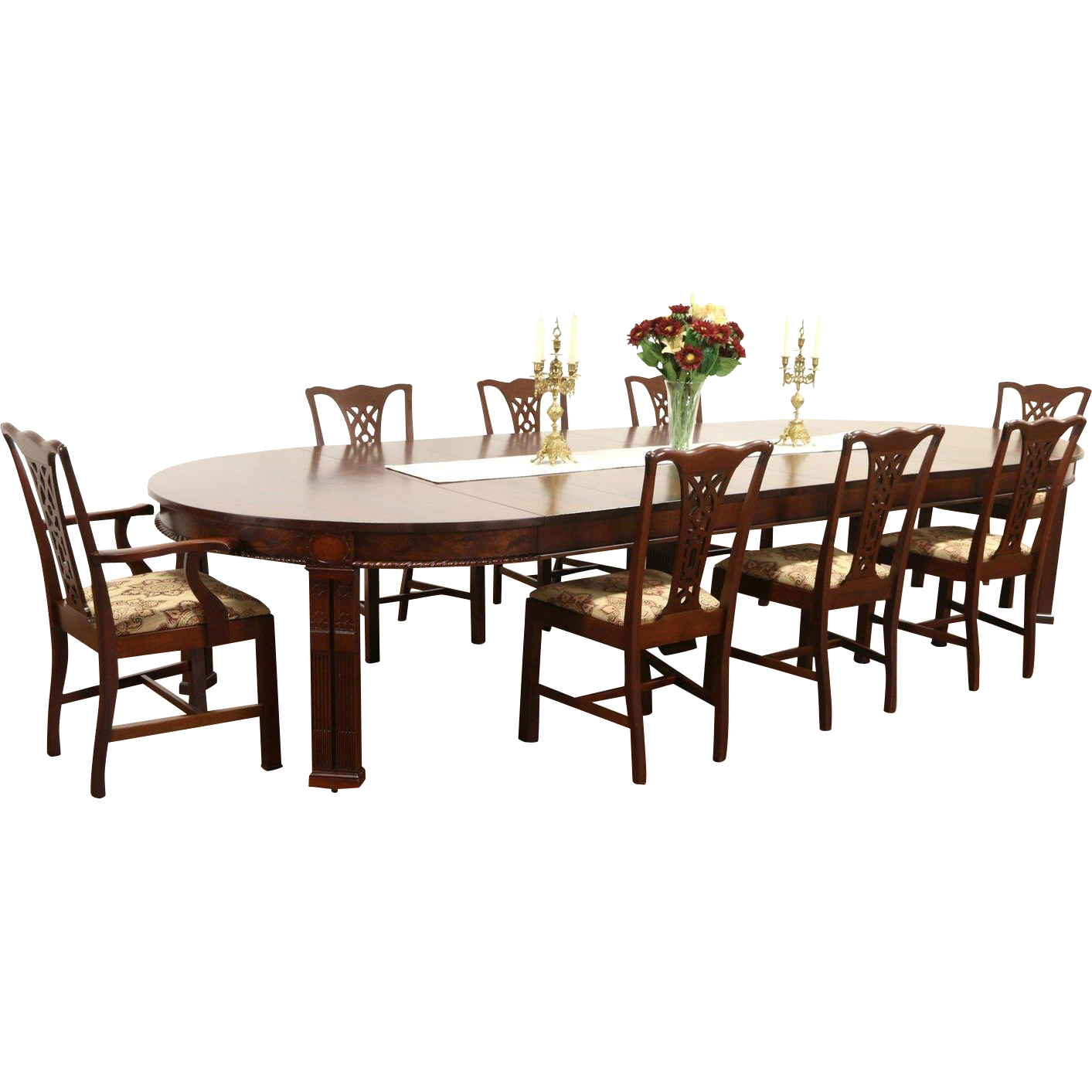 Georgian 1915 Antique Mahogany Dining Set, 5' Table Extends 12 1/2,' 8 Chairs