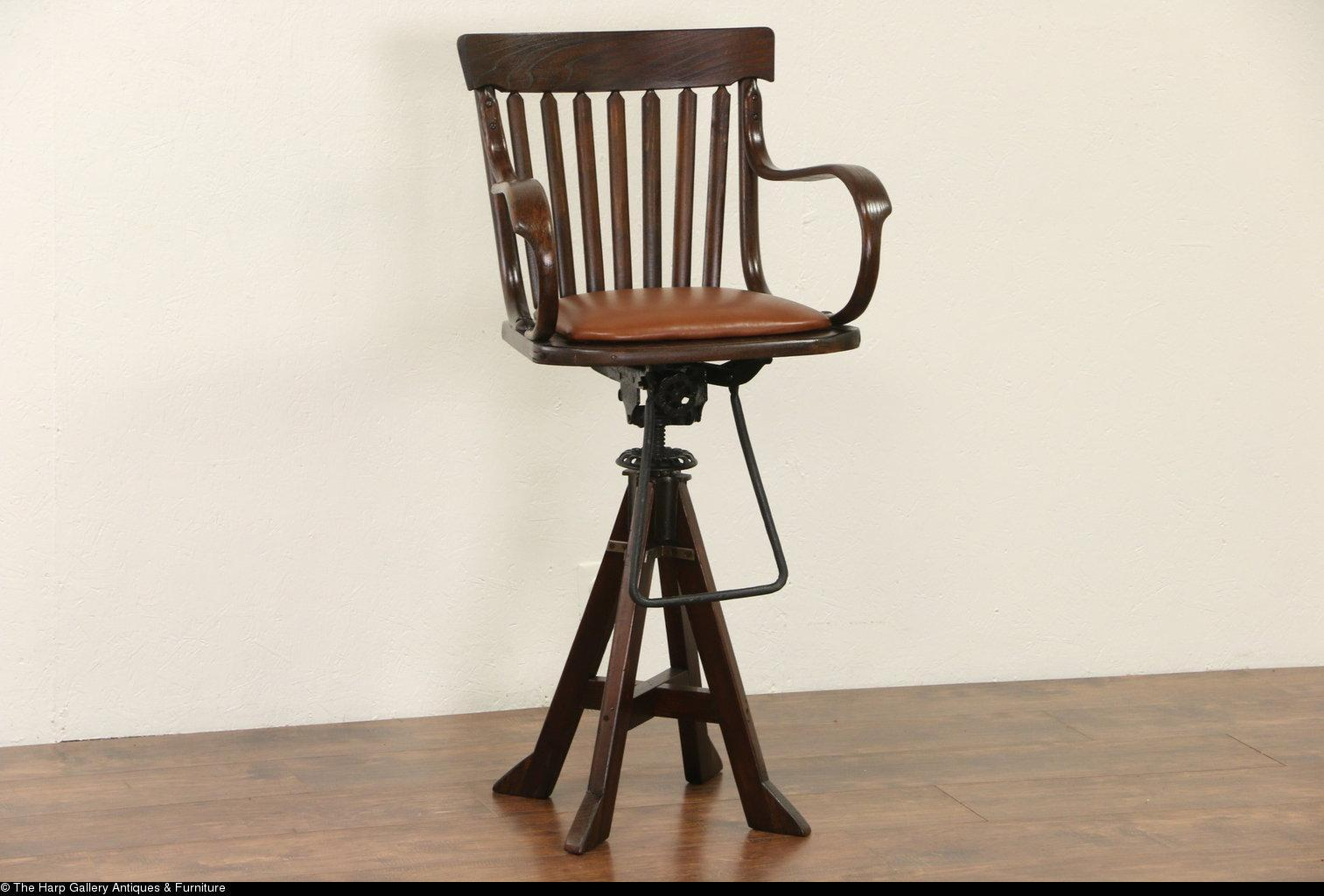 Oak Swivel 1900 Antique Architect or Drafting Stool, Leather Seat, Signed - Harp Gallery Antique Furniture From Harpgallery On Ruby Lane