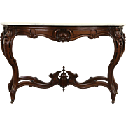 French Rosewood Antique 1870's Hall Console Table, Marble Top