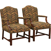 Pair Vintage Traditional Arched Library or Office Chairs w/Arms, New Upholstery