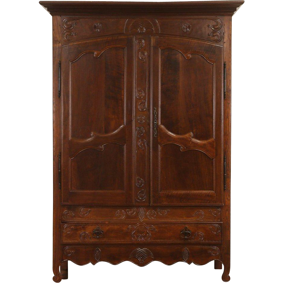 Country French Hand Carved & Hewn 1760 Era Antique Armoire, Fruitwood & Ash