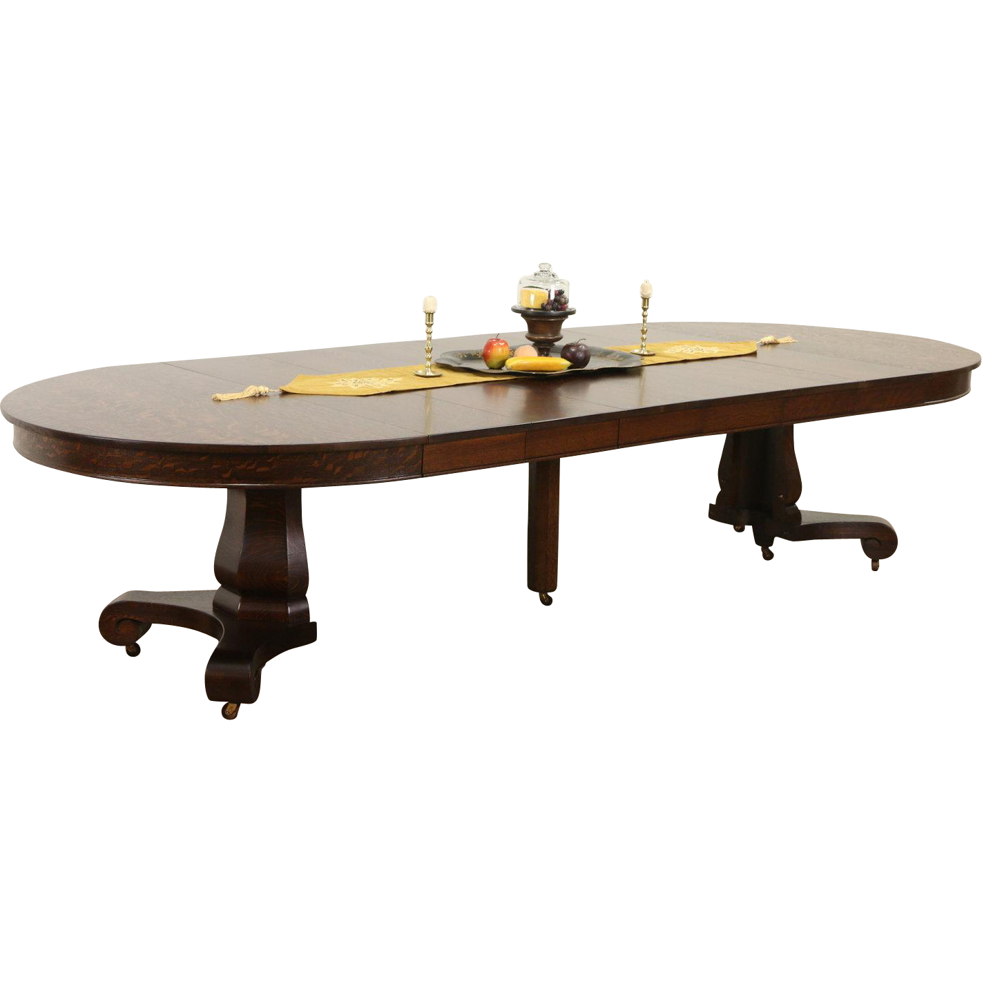 """Round 54"""" Antique 1900 Oak Pedestal Dining Table, 6 Leaves, Extends 10' 6"""""""