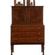 Sheraton 1830's Antique Mahogany Secretary Desk, Leather Top