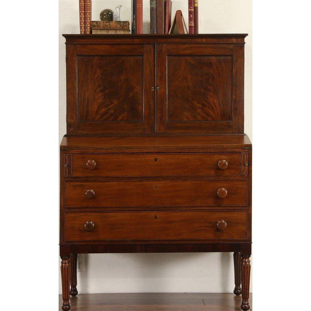 Sheraton 1830's Antique Mahogany Secretary Desk, Leather Top