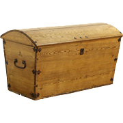 Country Pine 1840's Antique Trunk or Blanket Chest, Northern Europe