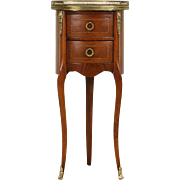 French 1920 Antique Marble Top Marquetry Nightstand or End Table
