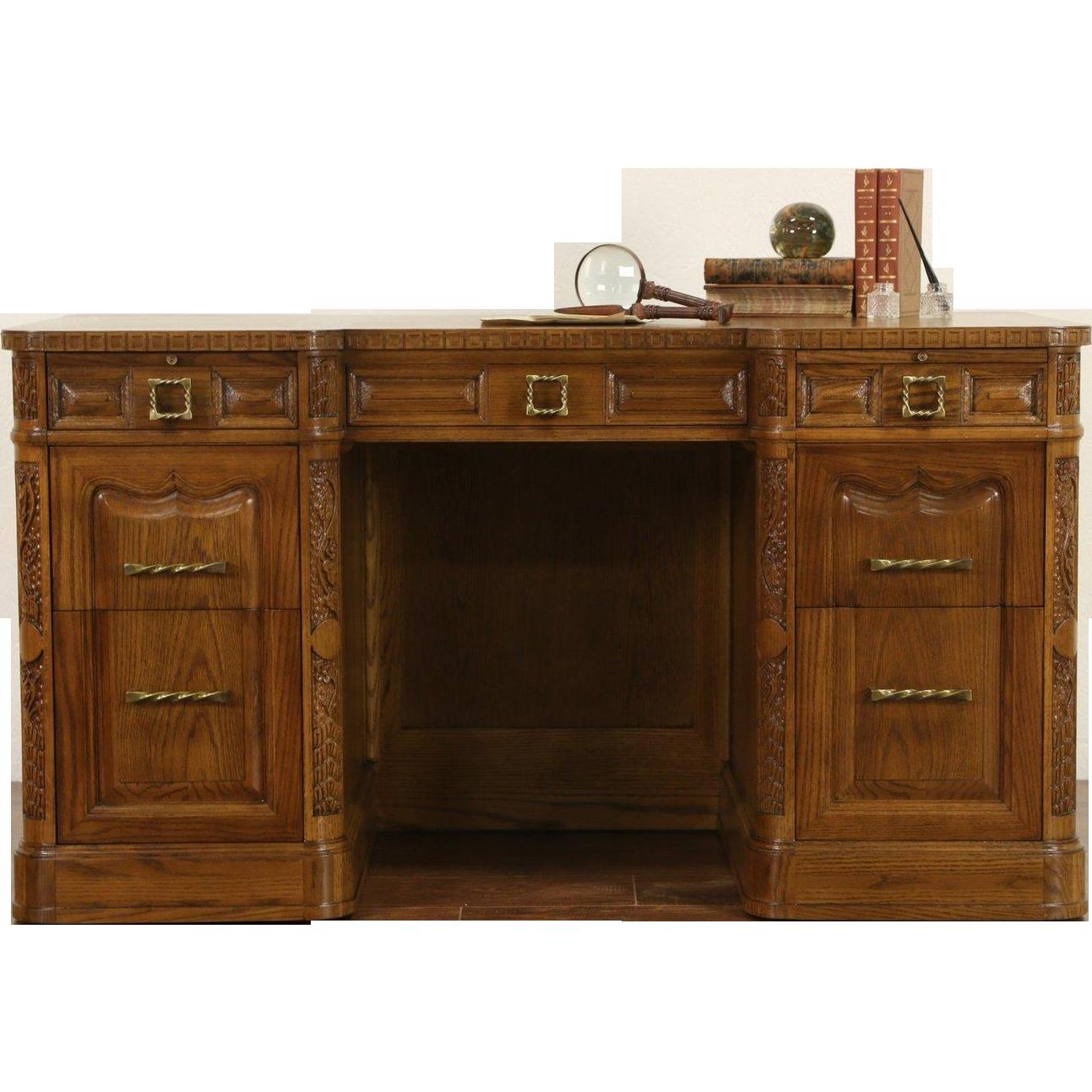 Romweber Unsigned Carved Oak 1960's Vintage Executiver or Library Desk