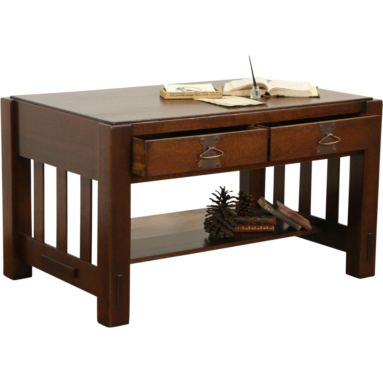 Arts & Crafts Mission Oak 1905 Antique Library Table, Original Hardware