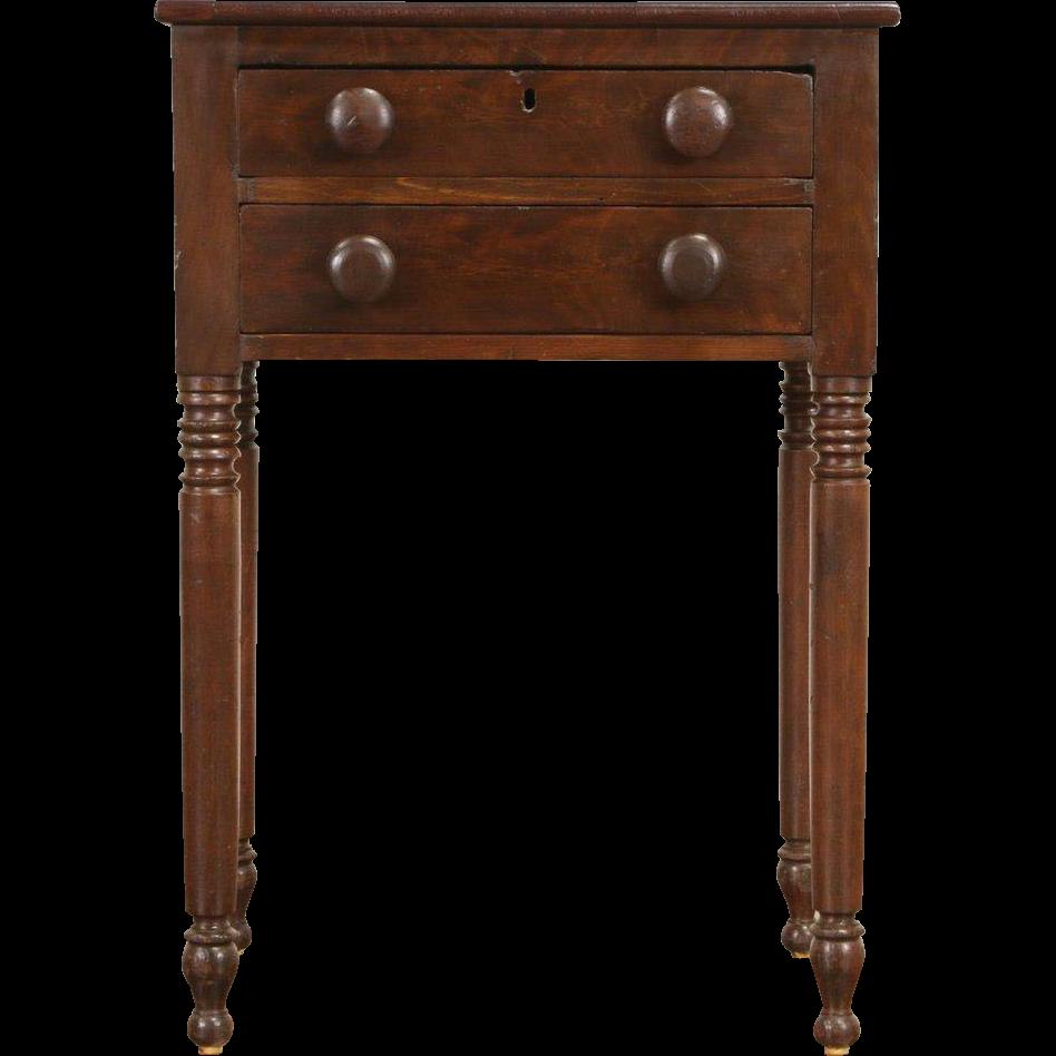 Sheraton 1830 Era New England Nightstand, Lamp or End Table