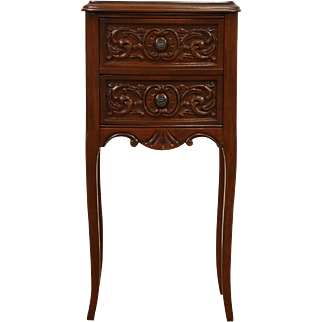 French Style 1930's Vintage Carved Nightstand or End Table