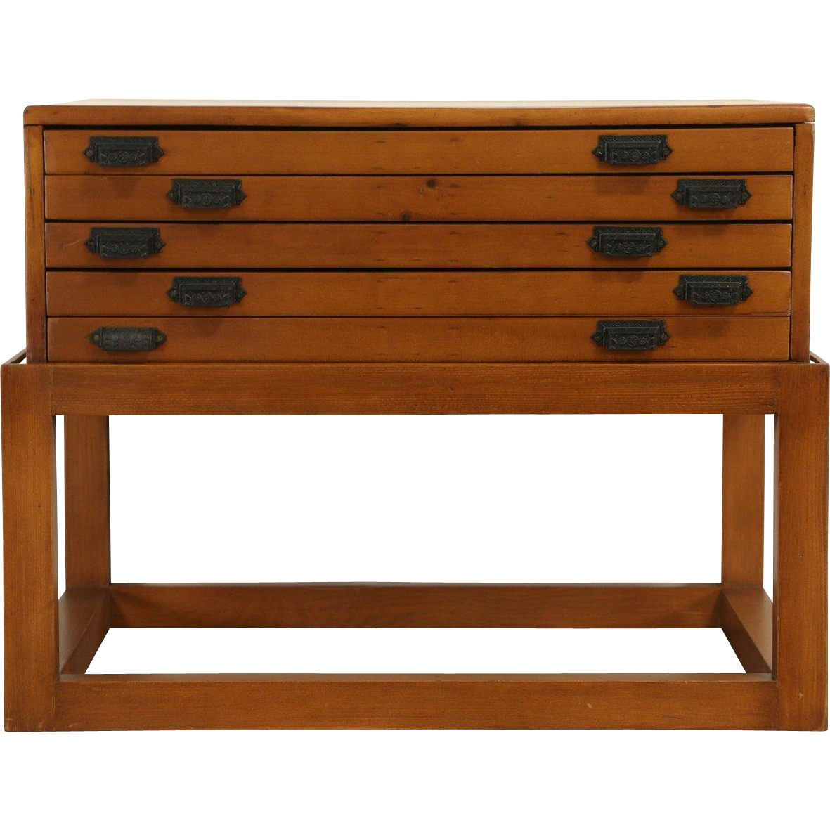 Pine 5 Drawer 1900 Antique Map Chest or Drawing File, Fitted as Coffee Table
