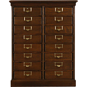 Globe Wernicke 16 Drawer 1900 Antique Oak File Cabinet, Original Hardware