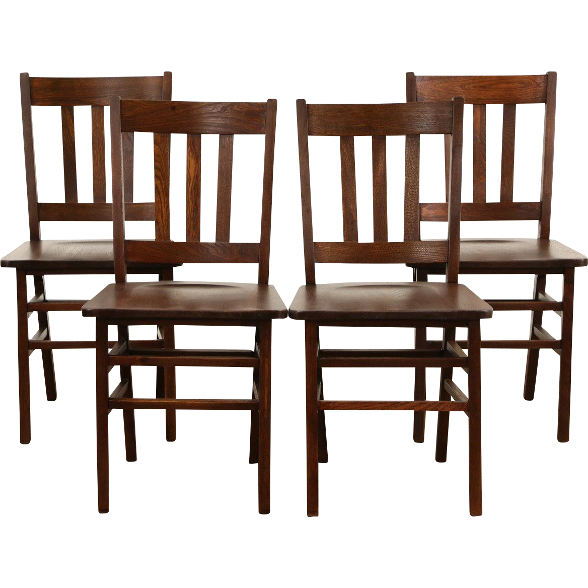Recrafting A 1915 Craftsman: Set Of 4 Antique 1915 Elm Craftsman Game Or Dining Chairs