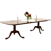 Mahogany Traditional 2 Pedestal 1950 Vintage Dining Table, 2 Leaves Extend 9'