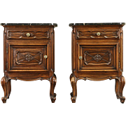 Pair Italian Antique 1910 Nightstands or End Tables, Black Marble Tops