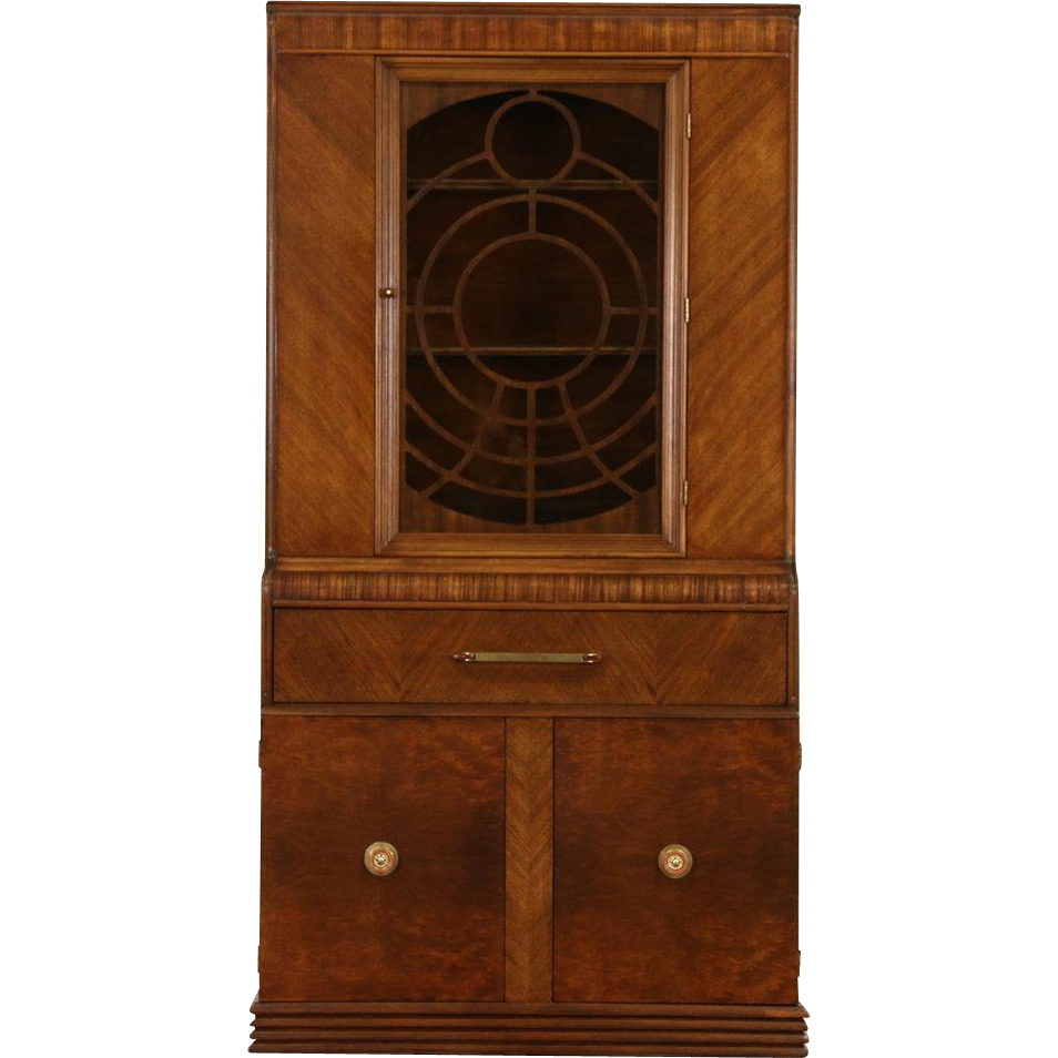 Art Deco Waterfall Bookcase or China Cabinet, late 1930's Vintage