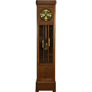 Oak 1900 Antique German Grandfather Tall Case Clock, Beveled Glass