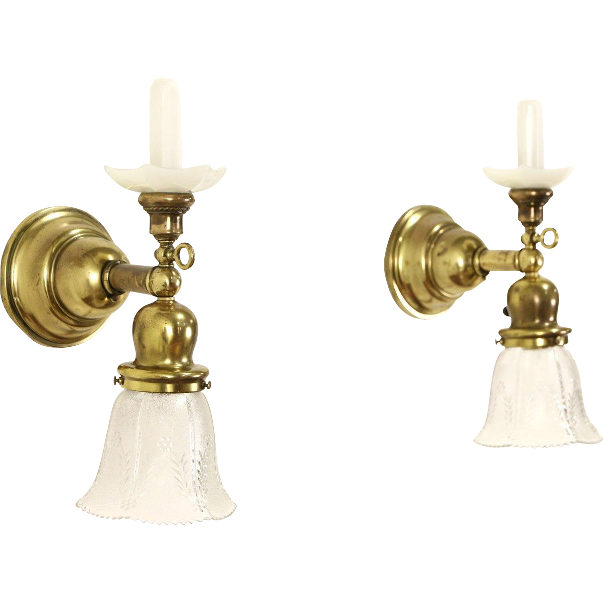Pair of Antique Brass 1890's Gas Wall Sconce Lights, Electrified
