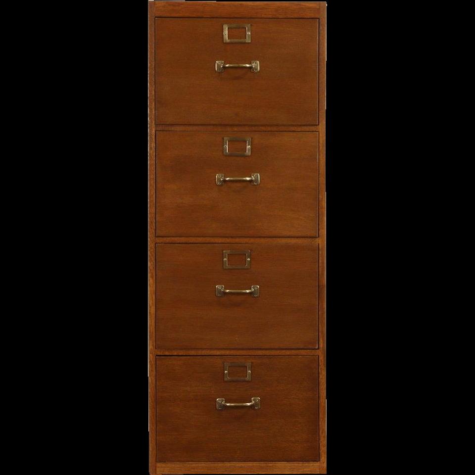 Oak 4 Drawer File Cabinet, WW II Army Air Force 1940's Vintage