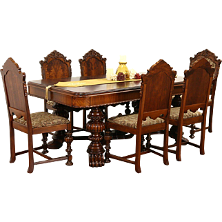 Renaissance Carved 1920's Antique Dining Set, Table & Leaf, 6 Chairs New Fabric