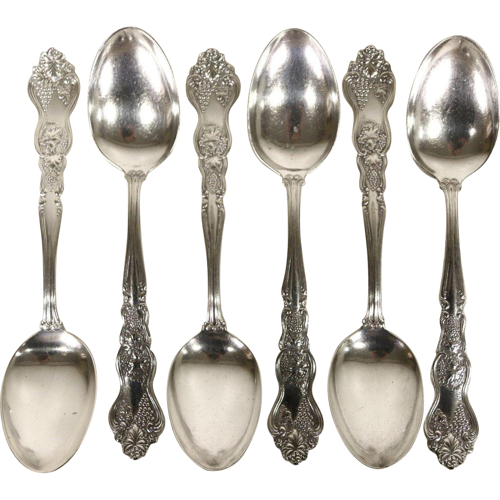 Set of 6 Victorian Silverplate Grapevine Motif Teaspoons, Pat. 1906